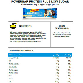 PowerBar ProteinPlus Low Sugar Riegel Box Vanilla 30 x 35g